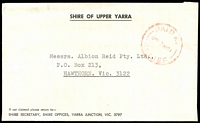 Lot 16223:Yarra Junction: - WWW #, red 'PAID AT/?7AP71/RELIEF' on Shire of Upper Yarra cover. [Known used 7/4/71-14/5/71]  PO 20/11/1901; LPO 10/11/1993.