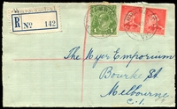 "Lot 3310 [1 of 2]:Yarrambat: - WWW #10 'YARRAMBAT/28AU37/VIC.' on 1d & 2d pair on cover with mss ""Yarrambat"" on provisional registration label.  Renamed from Tanck's Corner PO c.1928; LPO 24/3/1994."
