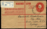 Lot 18005 [1 of 2]:Yarraville: - WWW #50B 29½mm 'YARRAVILLE/5JE59/VIC-AUST.' on 1/7d Registration Envelope with blue label.  PO 1/9/1872; LPO 6/6/1998.