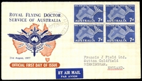 Lot 4065:Royal 1957 Royal Flying Doctor Service block of 4 tied by GPO Sydney 130 cds 21AU57 to to well-know publisher Francis J Field, England. Included is a black and white photo of the stamp from the Postmaster General's publicity department. Unusual. (2)