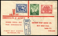 Lot 4132 [1 of 2]:Southern Stamp Service (UK) 1946 Peace Set on red cover with printed address in red, fine 'G.P.O.SYDNEY 121/930A18FE46/N.S.W-AUST' cancels, sliced open at left.