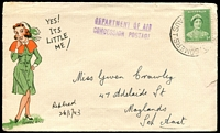 Lot 658:1943 use of Clarrie King illustrated cover 'Yes its little me' with Nurse, 1d QM tied by poor RAAF Somers, violet 'DEPARTMENT OF AIR/CONCESSION POSTAGE' handstamp on face.