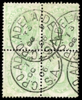Lot 612:1902 Converted NSW Plates BW #D9 6d emerald block of 4, Cat $80+.