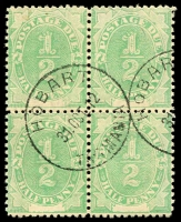Lot 605:1902 Converted NSW Plates BW #D1 ½d emerald block of 4, Cat $40+.