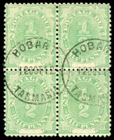 Lot 606:1902 Converted NSW Plates BW #D1j ½d emerald block of 4 [L5/2-3,6/2-3] unit 6/3 with FP joined small crack?, Cat $70+.