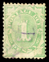 Lot 607:1902 Converted NSW Plates BW #D2j 1d emerald with White flaw over base of 2nd N of PENNY, Cat $50.