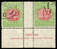 Lot 661:1922-30 Wmk 3rd Crown/A BW #D106zb Ash imprint pair, R55 with Left frame of value tablet buckled in centre with break above, 1929 cancel, Cat $175 for mint block of 4.