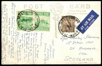 Lot 604:1953 (Apr 27) use of 3d Food pair & 6d Kookaburra on airmailed Rose PPC of 'Panorama at Buxton, Victoria', from Melbourne to Scotland.