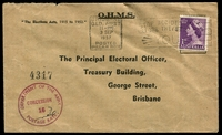 Lot 605:1957 (Sep 3) use of 1d violet QEII on OHMS cover to The Principal Electoral Office. Brisbane, Army concession handstamp on face.