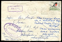 "Lot 636:1966 (Nov 17) use of 25c Robin on air cover (small faults) to soldier in 22nd SAS Regt at Hereford, then redirected to Malaya. Fine triple-oval '""G"" SQUADRON/22NOV1966/22nd. S.A.S. REGT' on face and Hereford slogan cancel of 'SUE RYDER HOMES/CAVENDISH/SUFFOLK/REMEMBER THE CHILD/VICTIMS OF HITLER'. [Sue Ryder set up a home for concentration camp survivors.]"