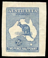 Lot 642:1913-20 2½d Blue Kangaroo BW #ES7 unused cut-out, very rare, Cat $500 as cut-out.