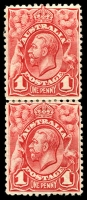 Lot 208:BW #59(3)h 1d red vertical pair lower unit with Weak entry to top right corner & top of crown retouched [3/64], Cat $40+.