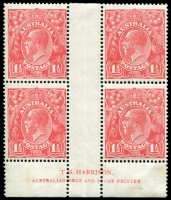 Lot 214:1½d Red Die I - BW #89(21)z Harrison imprint block of 4 with catalogued flaw on R55 and prominent flaws on L60 & R49, light tones, Cat $675.