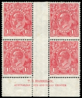 Lot 231:1½d Red Die I - BW #89(22)z Harrison imprint block of 4, MNG, Cat $675.