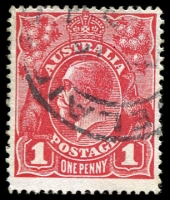 Lot 218:1d Red Smooth Paper - BW #71(2)f [III/37] Four breaks in shading lines at top of stamp, Cat $60.