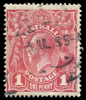 Lot 215:1d Red Smooth Paper - BW #71(1)e [I/36] Saddle on emu, Cat $60.