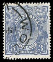 Lot 553:3d Blue Die Ia - BW #106(3,4)m [3,4R7] White spot at top left corner, Cat $75.