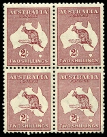 Lot 205:2/- Maroon Redrawn Die BW #41 block of 4 with uncatalogued Large break in shading line right of Cape York, quite prominent. MUH.