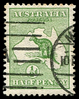Lot 124:½d Green BW #1a Wmk inverted, odd lightly toned perf tips, Cat $75.