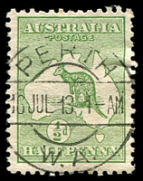Lot 726:½d Green BW #1a Wmk inverted, Cat $75.