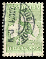 Lot 127:½d Green BW #1(1)g [1R55] White scratch left of value circle, Cat $50.