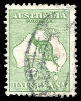Lot 125:½d Green [1L35] Breaks in 1st, 2nd & 5th lines above Cape Arnhem, pmk partially obscures flaw.