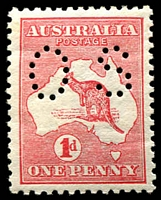 Lot 788:1d Red Die IIA BW #4ba perf small 'OS', small inscripton on gum, Cat $100.