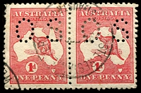 Lot 688:1d Red Die IIA [KL57] Break in shading lines below Spencer's Gulf etc, left unit in perf 'OS' pair.