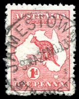 Lot 799:1d Red Die IIA [HL59] White flaw at NW tip of Tasmania.