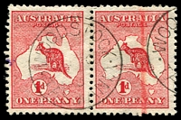 Lot 128:1d Red Die I BW #2a pair Wmk inverted, odd short perf, Cat $100+