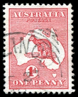 Lot 133:1d Red Die I BW #2(B)e [BL24] Scratch in Bight, Cat $20.