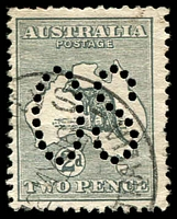 Lot 148:2d Grey - BW #5bb perf large 'OS', Cat $20