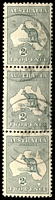 Lot 172:2d Grey - vertical strip of 3, Cat $60+