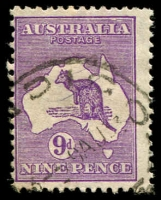 Lot 197:9d Violet BW #28(3)d [3L18] Shading breaks over I of AUSTRALIA [3L18], Cat $125.