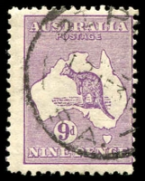 Lot 198:9d Violet BW #28(3)g [3R28] Thin-necked roo, Cat $250.