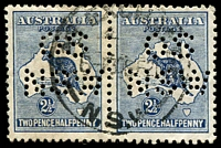Lot 187:2½d Indigo - perf 'OS/NSW' pair.