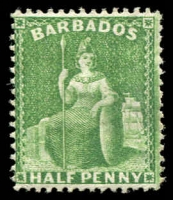 Lot 3344:1875-81 Britannia Wmk Crown/CC Perf 14 SG #72 ½d bright green, Cat £28.