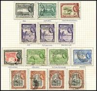 Lot 3390 [3 of 3]:1938-52 KGVI Pictorials SG #115-26a 1c to $2 incl most shades/perfs, plus 1c to 12c QEII Pictorials with all shades, Cat £50+. (37)