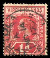 Lot 3403:1913-19 KGV Wmk Mult Crown/CA SG #70a 1d deep red & carmine, Cat £14