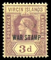 Lot 3404:1916-19 KGV 'WAR STAMP' SG #79 3d purple/yellow, Cat £38