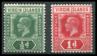 Lot 3405:1921 KGV Die II SG #80-1 ½d & 1d, Cat £27 (2)