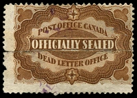 Lot 20451:1879 Officially Sealed brown, Unitrade #OX1, two halves rejoined.