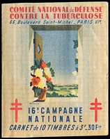 Lot 62:France 1946 Tuberculosis: complete booklet with block of 10 3fr 'stamps', fine condition.
