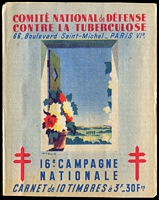 Lot 67:France 1946 Tuberculosis: complete booklet with block of 10 3fr 'stamps', fine condition.