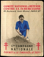 Lot 9:France 1947 Tuberculosis: complete booklet with block of 10 5fr 'stamps', small tear on booklet face, otherwise fine condition.