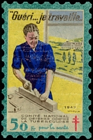 Lot 10:France 1947 Tuberculosis: 50fr 'large stamp' in original packet, fair condition.
