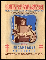Lot 15:France 1949 Tuberculosis: complete booklet with block of 10 5fr 'stamps', fine condition.