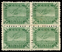 Lot 3364:1902 Wmk Single NZ/Star SG #28 ½d yellow-green Tern block of 4, small faults, Cat £19.