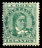 Lot 3369:1913-19 Wmk NZ/Star SG #45 10d green, Cat £38.