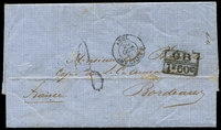 "Lot 3678 [1 of 2]:1863 (Oct 7) stampless cover from British PO in Havana to Bordeaux, fine boxed 'GB/1F60C' accountancy mark on face, rated '8"" in black, England Calais TPO on face."